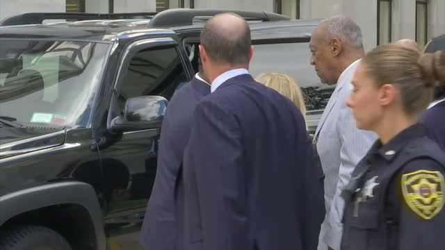 shows exterior shots american tv star bill cosby walking out of montgomery county courthouse close up shots of him during his attorney's statement... - legal trial stock videos & royalty-free footage