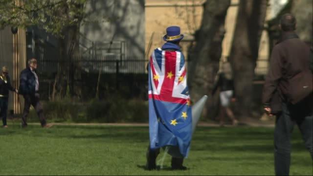 shows exterior shots anti-brexit protester dressed in union jack walking around park next to parliament in sun. before theresa may flew to brussels... - house of commons stock videos & royalty-free footage