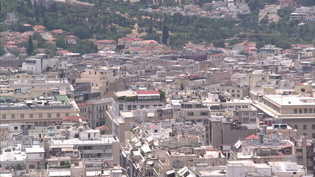shows exterior shots athens city skyline on june 28 2015 in athens greece - panathinaiko stadium stock videos & royalty-free footage
