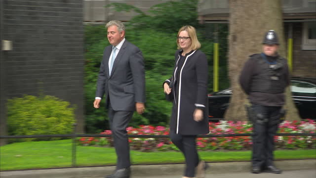Shows exterior shots Brandon Lewis Home Office Minister and Amber Rudd Home Secretary walking to 10 Downing Street Theresa May's new Cabinet is...