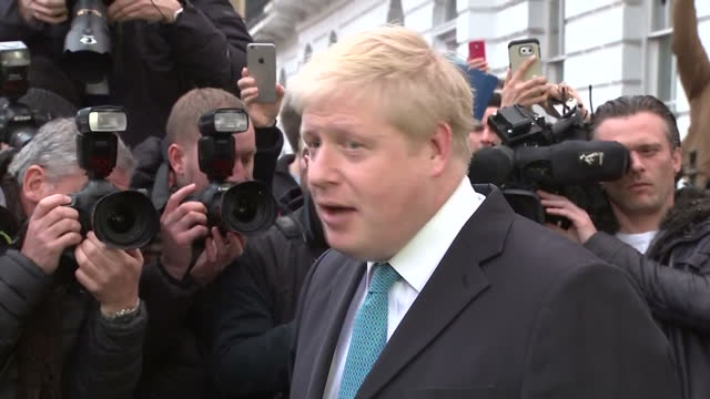 shows exterior shots british mp boris johnson walking out of his house to speak to press on his views on europe and politics of the european union... - boris johnson stock videos & royalty-free footage