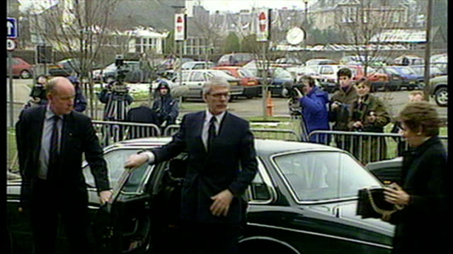 shows exterior shots british prime minister john major with wife norma arriving at stirling royal infirmary accompanied by scottish secretary michael... - dunblane school massacre stock videos & royalty-free footage