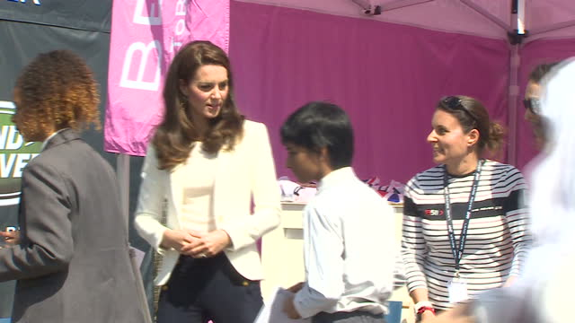 shows exterior shots catherine , duchess of cambridge, meeting race to bermuda team delegates and looking at a team bar small race catamaran with... - london docklands stock videos & royalty-free footage