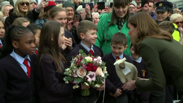 shows exterior shots catherine , duchess of cambridge, talking to a group of school children on a walkabout following a visit to tig cóilí pub, a... - western european culture stock videos & royalty-free footage