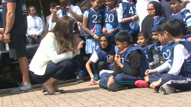 shows exterior shots catherine , duchess of cambridge, talking to children before she leaves an 1851 charity event in london docklands. catherine,... - london docklands stock videos & royalty-free footage