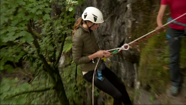 shows exterior shots catherine, duchess of cambridge visiting windermere adventure training centre in cathedral quarry in little langdale in the lake... - competition stock videos & royalty-free footage