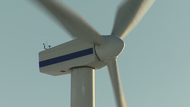 shows exterior shots close ups of rotor and blades of turning wind turbines at wind farm on 28th december, 2017 in scotland, uk - propeller stock videos & royalty-free footage