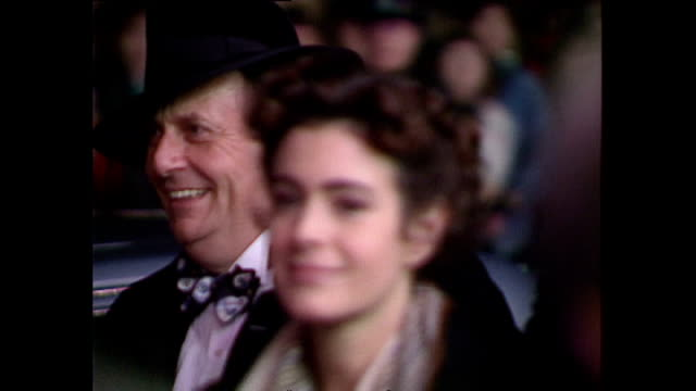 shows exterior shots comedian barry humphries and actress sean young leaving following the royal premiere of the film 'hook' and soundbite interviews... - hook stock videos & royalty-free footage