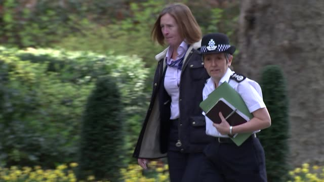 Shows exterior shots Commissioner of the Metropolitan Police Service Cressida Dick arriving at Downing Street for knife crime summit Theresa May...