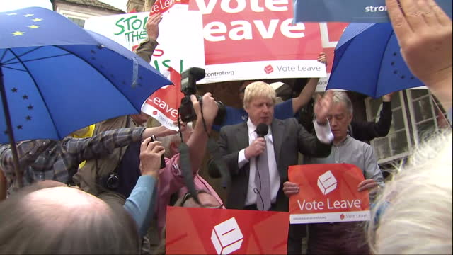 "shows exterior shots conservative mp and 'out' campaigner boris johnson speaking at eu referendum 'vote leave' campaign event quote: ""i'm totally in... - referendum stock videos & royalty-free footage"