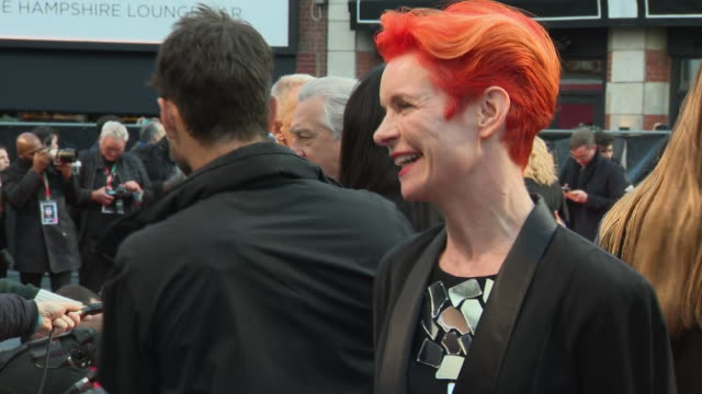 shows exterior shots costume designer sandy powell on the red carpet for the bfi's london film festival closing night gala premiere of martin... - premiere stock-videos und b-roll-filmmaterial