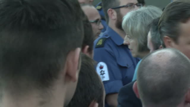 Shows Exterior shots David Cameron British Prime Minister talking to sailors aboard HMS Bulwark who have rescued migrants from the Mediterranean...