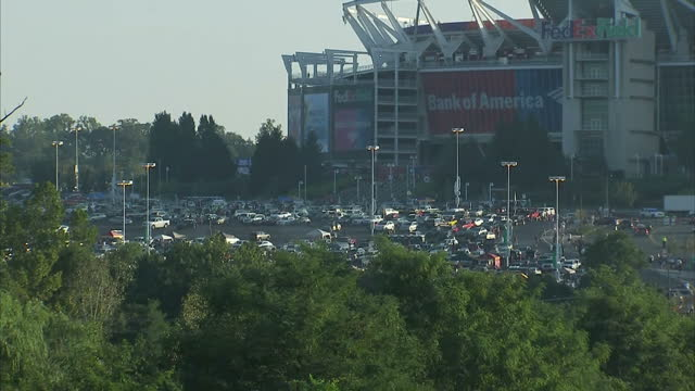 Shows exterior shots Fedex Field NFL Stadium with fans cars parked outside before fotoabll match on 25th September 2017 in Washington DC USA