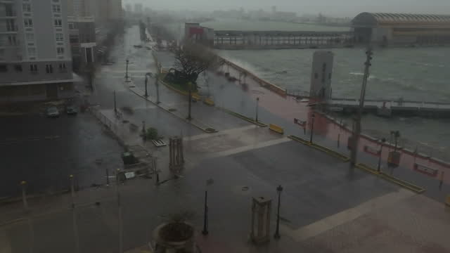 vidéos et rushes de shows exterior shots from third floor balcony strong winds blowing and rain falling over bay and road in san juan as hurricane maria arrives... - endommagé