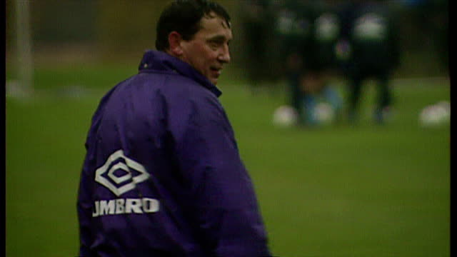 shows exterior shots graham taylor as england football manager talking to players and watching training at bisham abbey on november 13th 1993 in... - major league soccer stock videos and b-roll footage