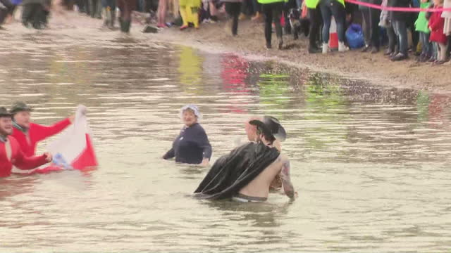 shows exterior shots group of costumed swimmers being led along shore then jumping into the firth of forth to complete the loony dook swim.... - fluss firth of forth stock-videos und b-roll-filmmaterial