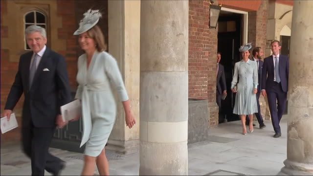 shows exterior shots guests including the duchess of cambridge's family her parents michael and carole middleton her sister pippa middleton with her... - baptism stock videos & royalty-free footage