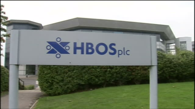 shows exterior shots hbos headquarters in edinburgh and hbos sign outside offices from 2008. exterior shots llyods tsb scotland and bank of scotland... - banking sign stock videos & royalty-free footage