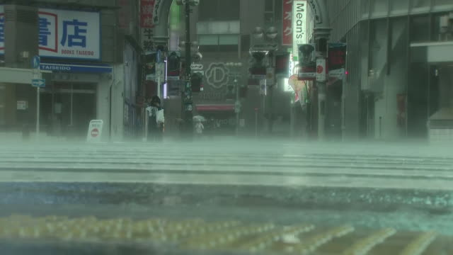 shows exterior shots heavy rain falling in semi-deserted streets as typhoon hagibis arrives. one person is dead, at least 60 have been injured and... - typhoon stock videos & royalty-free footage