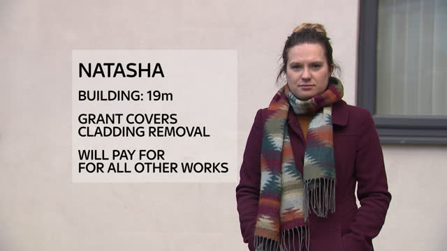 shows exterior shots high rise buildings in manchester covered in unsafe cladding, insulation and decking on balconies, exterior shots interview with... - construction industry stock videos & royalty-free footage