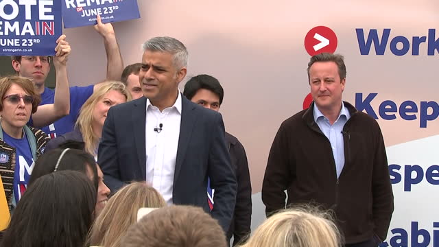 shows exterior shots 'in' campaigner mayor of london and labour politician sadiq khan speaking at eu referendum remain campaign event at roehampton... - 2016 european union referendum stock videos and b-roll footage