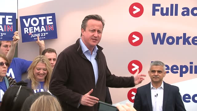 shows exterior shots 'in' campaigner uk's prime minister conservative mp david cameron speaking at eu referendum remain campaign event at roehampton... - 2016 european union referendum stock videos and b-roll footage