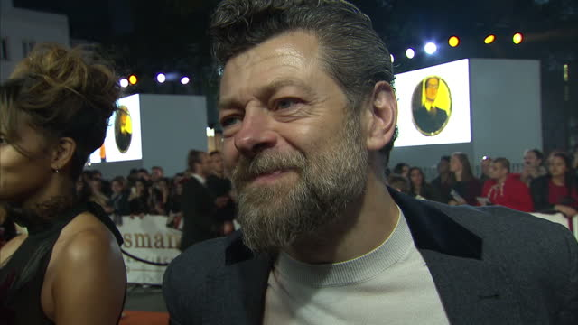 shows exterior shots inetrview with actor andy serkis speaking on making the film on the orange carpet at the world premiere of 'kingsman: the golden... - andy serkis stock videos & royalty-free footage