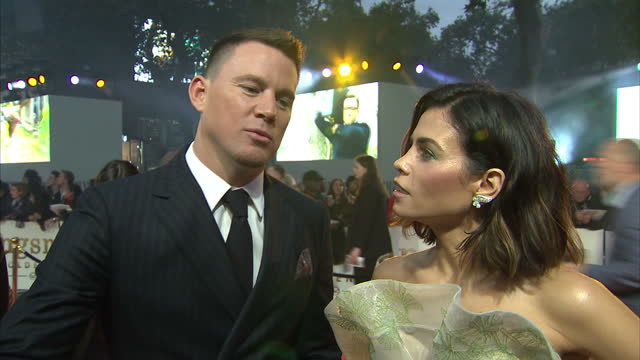 CLEAN Shows exterior shots inetrview with actor Channing Tatum and his wife Jenna Dewan Tatum joking about their marriage and speaking on making the...