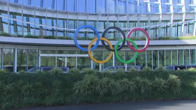 shows exterior shots international olympic committee headquarters with olympic rings symbol outside the international olympic committee says the... - the olympic games stock videos & royalty-free footage