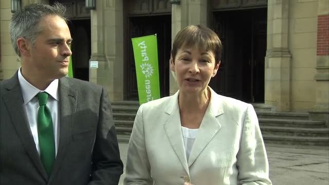 Shows exterior shots interview soundbite with Caroline Lucas CoLeader of the UK's Green Party speaking on becoming leader and political priorities...