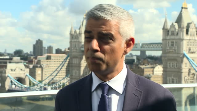 shows exterior shots interview soundbite with london mayor sadiq khan speaking on escalation of terror attacks across european cities and enhanced... - sadiq khan stock videos & royalty-free footage