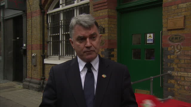 Shows exterior shots interview soundbite with RMT General Secretary Mick Cash speaking on Government plans to share responsibility for maintaining...