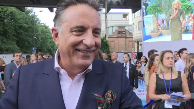 Shows exterior shots interview with actor Andy Garcia at the 'blue' carpet British Premiere of the film sequel Mamma Mia Here We Go Again on 16th...