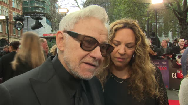 shows exterior shots interview with actor harvey keitel on the red carpet for the bfi's london film festival closing night gala premiere of martin... - premiere stock-videos und b-roll-filmmaterial