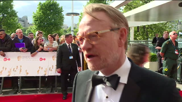 shows exterior shots interview with actor jared harris speaking on netflix series 'the crown' and nomination for supporting actor the best of... - best supporting actor stock videos & royalty-free footage