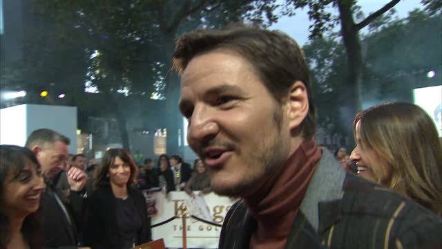 clean shows exterior shots interview with actor pedro pascal speaking on making the film and joking with reporter on the orange carpet at the world... - pedro pascal stock videos & royalty-free footage