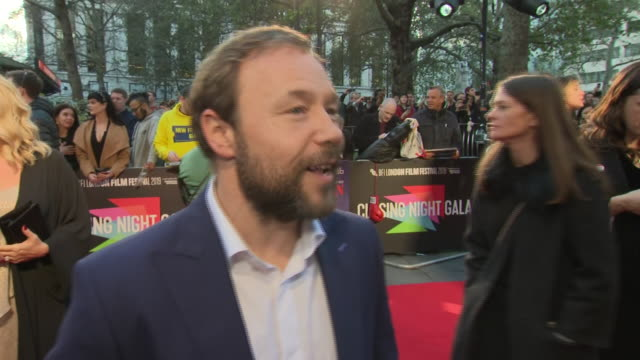 shows exterior shots interview with actor stephen graham on the red carpet for the bfi's london film festival closing night gala premiere of martin... - premiere stock-videos und b-roll-filmmaterial