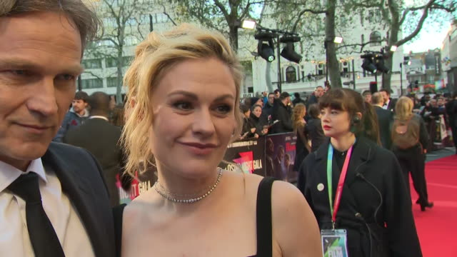shows exterior shots interview with actress anna paquin on the red carpet for the bfi's london film festival closing night gala premiere of martin... - premiere stock-videos und b-roll-filmmaterial