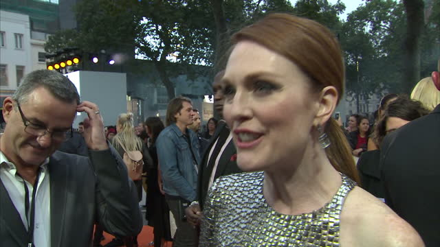 shows exterior shots interview with actress julianne moore speaking on making the film and elton john's cameo on the orange carpet at the world... - cameo brooch stock videos & royalty-free footage