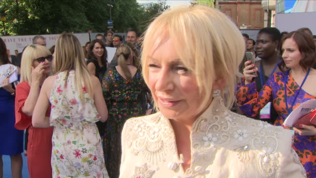 Shows exterior shots interview with Judy Craymer at the 'blue' carpet British Premiere of the film sequel Mamma Mia Here We Go Again on 16th July...