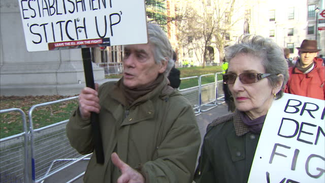 Shows exterior shots interview with proBREXIT supporters speaking on Article 50 Court Case and break up of European Union The legal battle over...