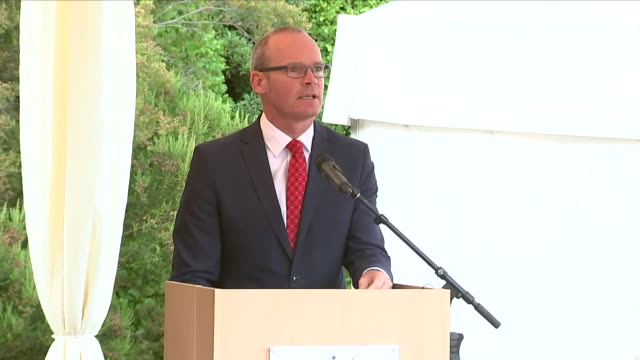 shows exterior shots irish tánaiste simon coveney giving speech at a reception at glencairn, the residence of robin barnett, the british ambassador... - robin day stock videos & royalty-free footage