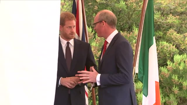 shows exterior shots irish tánaiste simon coveney talking to prince harry, duke of sussex at a reception at glencairn, the residence of robin... - robin day stock videos & royalty-free footage