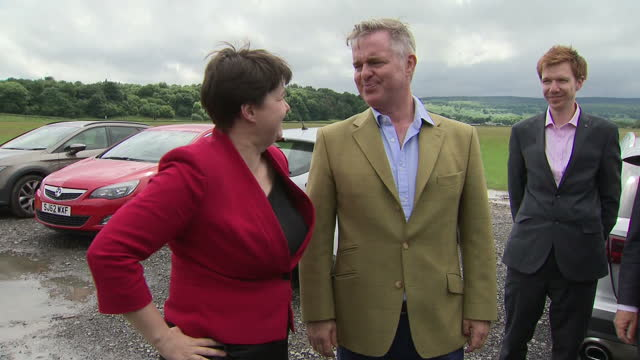 Shows exterior shots Leader of the Scottish Conservatives Ruth Davidson arriving at photocall and hugging new MPs as they arrive Ruth Davidson has...