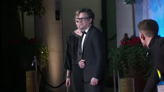shows exterior shots mark ruffalo actor sunrise coigney actress posing for photos on red carpet on arrival at grosvenor house hotel for bafta awards... - mark ruffalo stock videos and b-roll footage