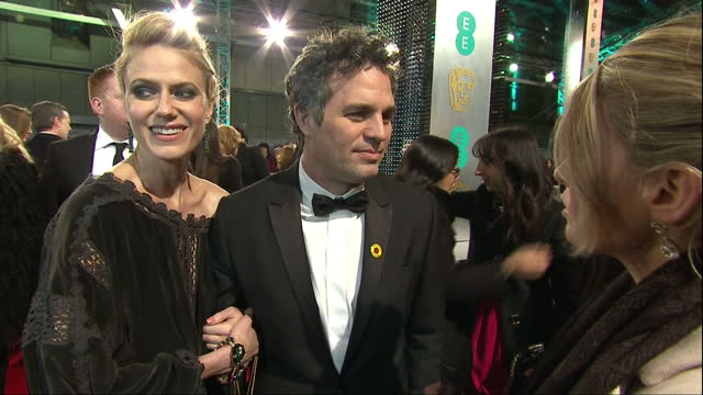 shows exterior shots mark ruffalo and michael fassbender talking to each other on red carpet and soundbite with actor mark ruffalo on nomination and... - mark ruffalo stock videos and b-roll footage