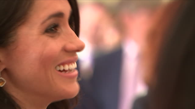 shows exterior shots meghan duchess of sussex talking to guests in a tent at a reception at glencairn the residence of robin barnett the british... - アイルランド共和国点の映像素材/bロール