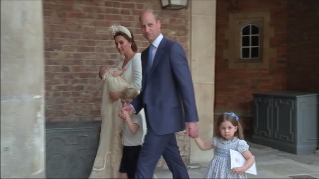 shows exterior shots members of the british royal family arriving for the christening of prince louis including prince charles prince of wales... - baptism stock videos & royalty-free footage