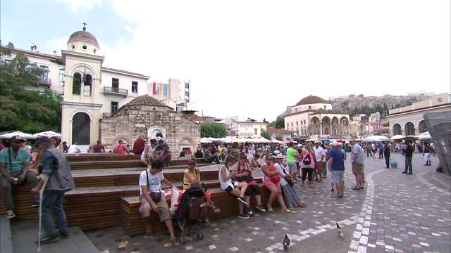 shows exterior shots monastiraki flea market the erechteion in the background on june 28 2015 in athens greece - the erechtheion stock videos & royalty-free footage