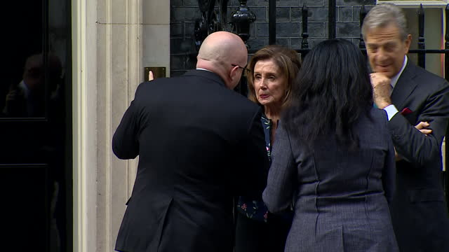 shows exterior shots of us speaker of the house of representatives nancy pelosi talking to people on steps of at 10 downing street on 17 september... - united states congress stock videos & royalty-free footage